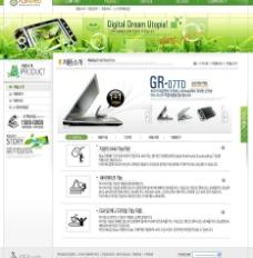 绿色清新韩国数字技术公司网页模板psd分层源文件图片