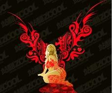 翅膀女性花纹矢量素材2图片