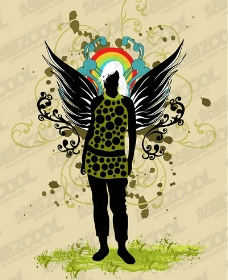 翅膀女性花纹矢量素材图片