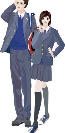 穿校服的动漫少男少女图片