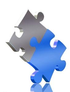 两块拼插的拼图图片