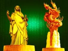 黄金雕塑图片
