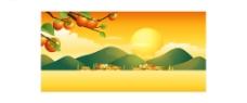 夏日黄昏风景矢量图片