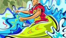 手绘时尚人物插画psd分层素材(独木舟运动)图片