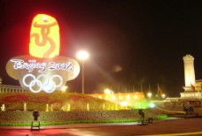 2008北京奥运人民广场夜景图片