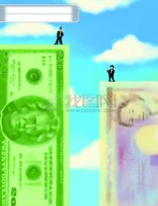 商务 卡通 金钱 插画 梦想 拜金主义 寓意 印象