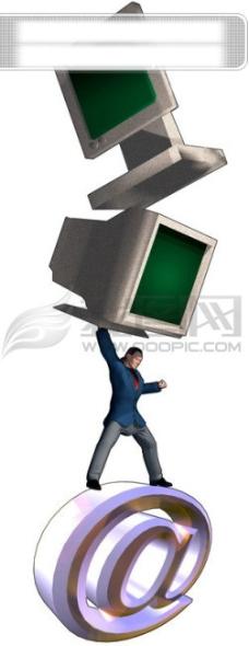 世界 网络 电脑 通讯 卡通人 商务