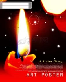 HanMaker韩国设计素材库 背景 冬天 温暖 蜡烛 烛光 祝福 希望 红烛