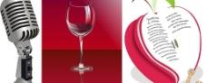 麦克风红酒杯苹果矢量素材图片