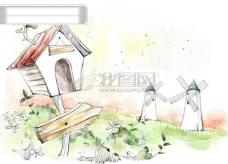 HanMaker韩国设计素材库 背景 淡彩 色调 意境 绘画 风格 草地 风车