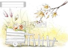 HanMaker韩国设计素材库 背景 淡彩 色调 意境 绘画 风格 树枝 花