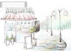HanMaker韩国设计素材库 背景 淡彩 色调 意境 绘画 风格 路灯 房子