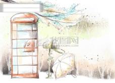 HanMaker韩国设计素材库 背景 淡彩 色调 意境 绘画 风格 树枝 电话亭
