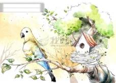 HanMaker韩国设计素材库 背景 淡彩 色调 意境 绘画 风格 鸟 鸟巢 树枝