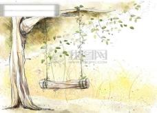 HanMaker韩国设计素材库 背景 淡彩 色调 意境 绘画 风格 树 秋千
