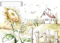 HanMaker韩国设计素材库 背景 淡彩 色调 意境 绘画 风格 向日葵 教堂