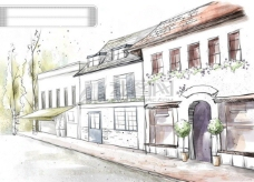 HanMaker韩国设计素材库 背景 淡彩 色调 意境 绘画 风格 房屋