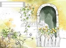 HanMaker韩国设计素材库 背景 淡彩 色调 意境 绘画 风格 树藤 花 窗台