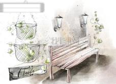 HanMaker韩国设计素材库 背景 淡彩 色调 意境 绘画 风格 树藤 椅子