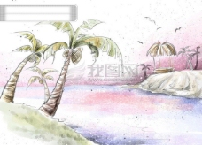 HanMaker韩国设计素材库 背景 淡彩 色调 意境 绘画 风格 椰树 湖畔