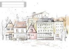 HanMaker韩国设计素材库 背景 淡彩 色调 意境 绘画 房屋 楼群 风格