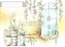HanMaker韩国设计素材库 背景 淡彩 色调 意境 绘画 风格 树藤 窗台 花盆
