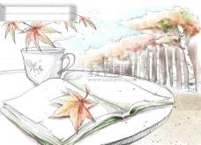 HanMaker韩国设计素材库 背景 淡彩 色调 意境 绘画 风格 树枝 书本 悠闲 落叶 秋天