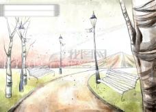 HanMaker韩国设计素材库 背景 淡彩 色调 意境 绘画 风格 树 路灯 椅子