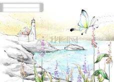 HanMaker韩国设计素材库 背景 淡彩 色调 意境 绘画 风格 房屋 湖畔 花丛 蝴蝶