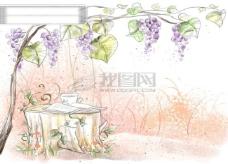 HanMaker韩国设计素材库 背景 淡彩 色调 意境 绘画 风格 树藤 树桩 葡萄