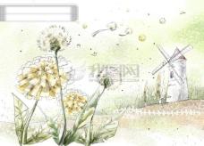 HanMaker韩国设计素材库 背景 淡彩 色调 意境 绘画 风格 蒲公英