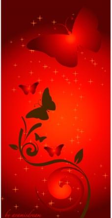 红底花蝶图片