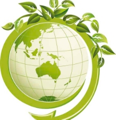 绿色的叶子与地球矢量素材图片