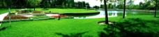超宽 花台 草坪 湖泊 蓝天图片