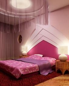 紫色調子的溫馨房間圖片素材