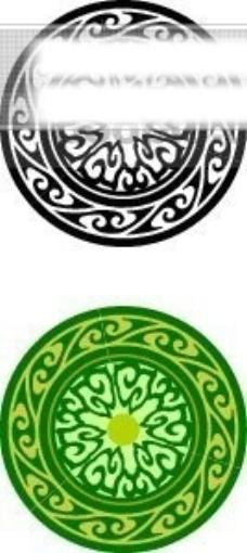 中国古典元素 盘 圆形 齿轮 古朴 边框 花纹 相框 精致 图形 拿来大师