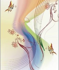 彩色梦幻蝴蝶花纹图片