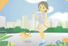 打网球的小女孩图片