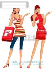 时尚购物女孩 逛街 卡通美女 美女 卡通 人物