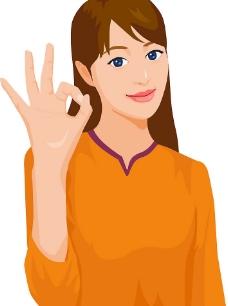 单手比心手势简笔画-女性手绘素材 漫画