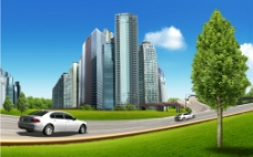 高档住宅区 公路 汽车图片