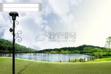 云 树 灯 户外 风景 水 PSD分层源文件 韩国花纹图库