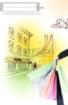 花纹 底纹 购物 手绘背景 袋子 礼品 09韩国设计元素 psd分层素材源文件