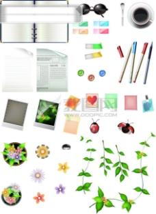 简笔画日记本手绘花边_树叶 花朵 办公用品 笔记本 日记本 笔 花边 报纸 矢量分层素材源文件