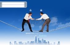 人物 团结 比拼 比赛 绳子 建筑物 蓝天白云 办公 飞机 PSD分层素材源文件 商业创意版式 影骑图库