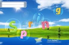 汽泡 纸船 字母 蝴蝶 花朵 光点 绿色背景 蓝天白云 PSD分层源文件 韩国花纹图库