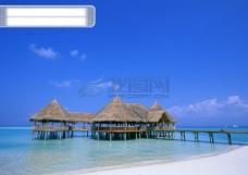 海上度假 海滩沙滩 休闲度假 天空蓝天白云 海边 匝道 茅屋