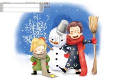 HanMaker韩国设计素材库 背景 卡通 漫画 可爱 人物 父子 雪人 儿童