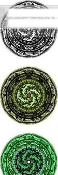 中国古典元素 盘 圆形 齿轮 古朴 边框 花纹 相框 精致 图形 拿来大师之古建瑰宝 火云携神 小品王全集 EPS源文件 素材